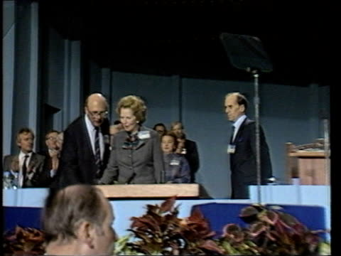 day 1 england lancashire blackpool winter gardens ts conference standing applauding as pm margaret thatcher onto platform ms thatcher and tory... - blackpool stock videos & royalty-free footage