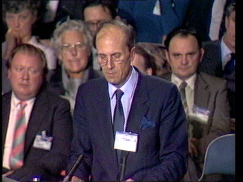 """conservative party conference: day 1; norman tebbit speech sof: """"above all -- tcms speaking conference tms speaking tcms thatcher listening - looking... - all shirts stock-videos und b-roll-filmmaterial"""