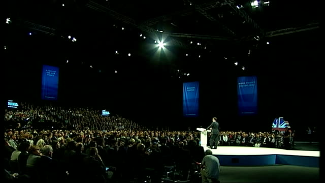 conservative party conference: day 2; int osborne speech sot - so there's no feeling at this conference of a task completed or a victory won. we... - sun roof stock videos & royalty-free footage