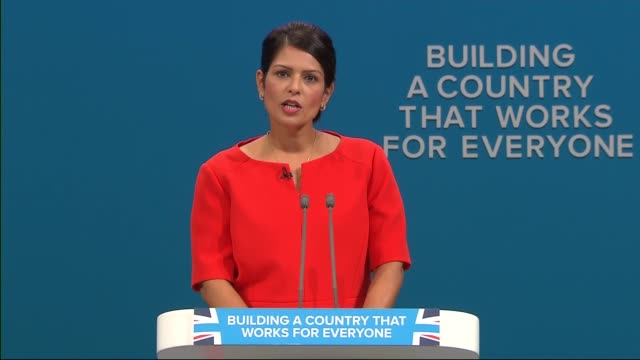 day 3 priti patel speech england manchester int priti patel mp speech sot - priti patel stock-videos und b-roll-filmmaterial