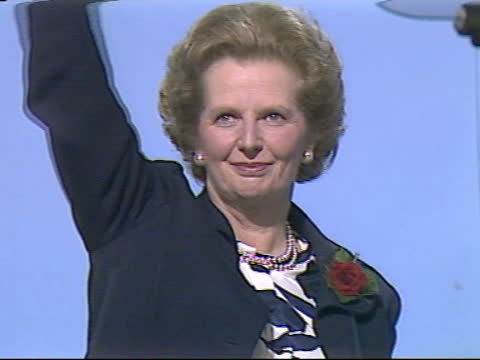 conservative party conference: day 4: margaret thatcher speech; ** 12 of 14 ** england: bournemouth: conservative party conference: int further shots... - wave stock videos & royalty-free footage