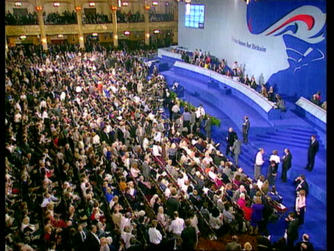 day 4 michael hesletine speech england blackpool michael heseltine mp along rl ls heseltine walking along platform tms mps taking seats on platform... - heir stock videos and b-roll footage