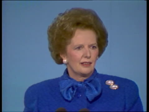 day 4 thatcher cms side thatcher smiling to applause as mike in f/g cbv woman wearing hat clapping sof as others thatcher on tv screen in b/g i've... - margaret thatcher stock videos & royalty-free footage