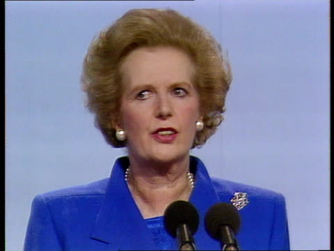day 4 thatcher speech pool england blackpool empress ballroom photography*** prime minister margaret thatcher along onto podium speech attacking... - blackpool stock videos & royalty-free footage