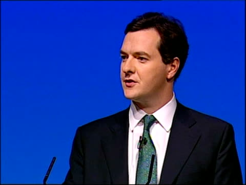 george osborne speech england lancashire blackpool int **flash photography throughout** high angle view of stage as george osborne to podium /... - industrial revolution stock videos & royalty-free footage