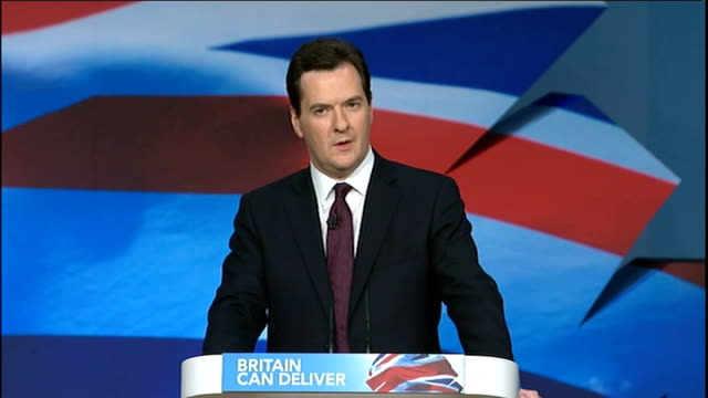 george osborne speech osborne speech sot david cameron standing and applauding / osborne waving / delegates giving standing ovation and applauding... - george osborne stock videos & royalty-free footage