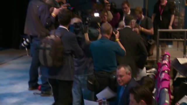 conservative party conference: jacob rees-mogg speech to to brexit fringe meeting; england: west midlands: birmingham: int ** flashlight photogaphy... - press room stock videos & royalty-free footage