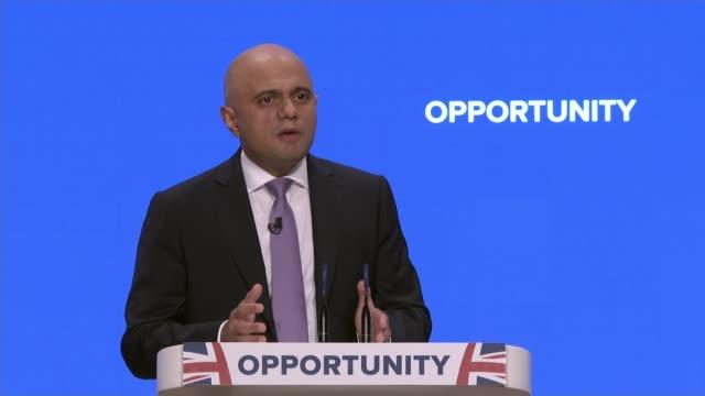 javid pledges to tackle middle class drugs use england birmingham icc int sajid javid mp speech sot - sajid javid stock videos & royalty-free footage