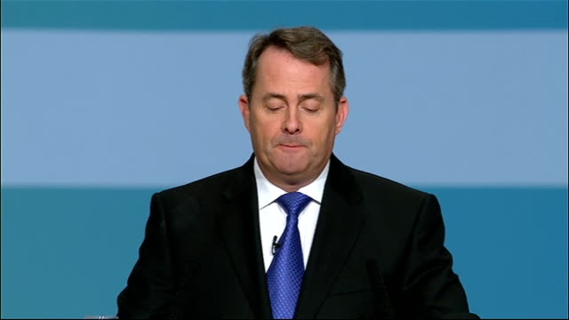 liam fox speech england birmingham the icc int unidentified woman announcing liam fox sot / general view of stage as fox entering / tory party member... - liam fox politician stock videos and b-roll footage