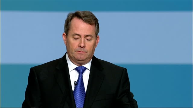 conservative party conference: liam fox speech; fox speech sot - as the prime minister has repeatedly said, the first duty of government is defence... - 12 13 years stock videos & royalty-free footage