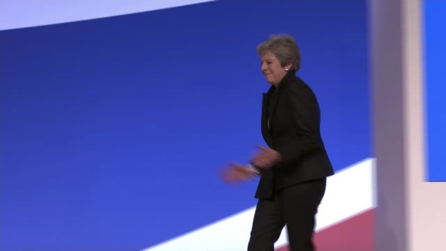 mayoral candidate shaun bailey conference speech england birmingham int theresa may mp dancing along to podium crowd applauding - theresa may stock videos & royalty-free footage