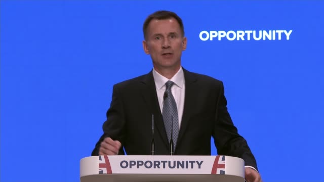party continues to be divided over brexit england west midlands birmingham int jeremy hunt mp speech sot the lesson from history is clear if you turn... - prisoner education stock videos & royalty-free footage