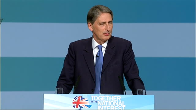philip hammond speech philip hammond speech continued sot so george osborne has mapped out a bold plan to restore britain to fiscal and economic... - on one leg stock videos & royalty-free footage