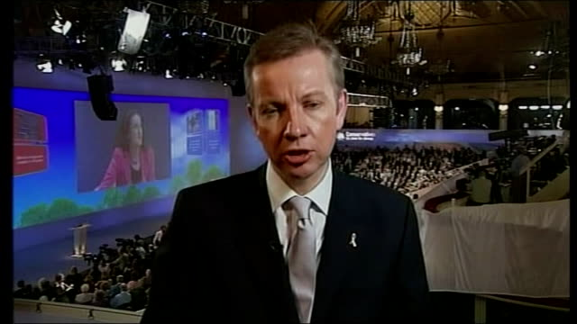 conservative party conference: reaction to iraq troop reduction & election speculation; 1.10.07 michael gove mp 2-way interview for c4n noon krishnan... - krishnan guru murthy stock videos & royalty-free footage