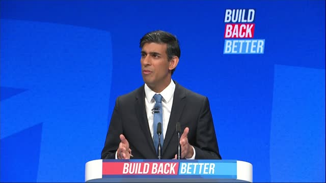 conservative party conference: rishi sunak speech; england: manchester: ext rishi sunak mp visiting network rail construction site in hard hat and... - construction vehicle stock videos & royalty-free footage