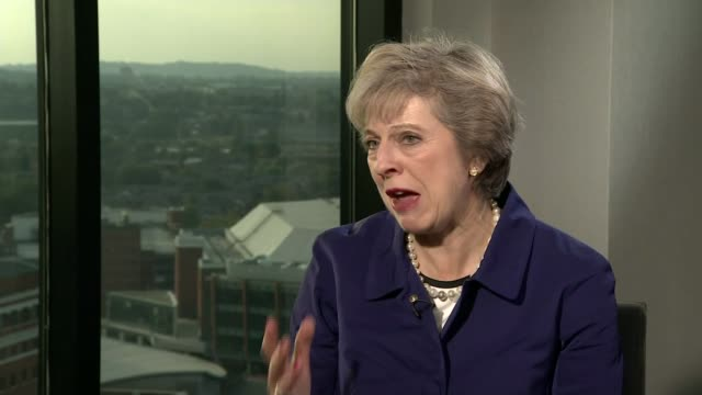 Theresa May interview ENGLAND Birmingham INT Various of reporter interviewing Prime Minister Theresa May MP Theresa May MP interview SOT Talks of the...