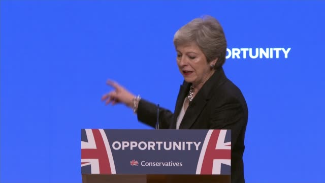 theresa may speech bimringham uk theresa may speech and dancing cabinet ministers cutaways england west midlands birmingham int wide shot main... - parlamentsmitglied stock-videos und b-roll-filmmaterial