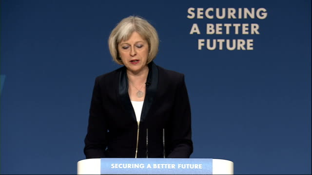 theresa may speech theresa may speech continued sot that judgement will sometimes be difficult to make but in the case of isil the danger is clear... - conservative party uk stock videos and b-roll footage