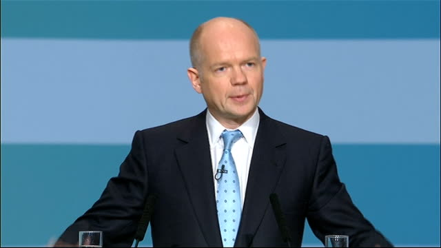 conservative party conference: william hague speech; hague speech sot - labour left britain on a path to decline, with no vision, no coherent... - human back stock videos & royalty-free footage
