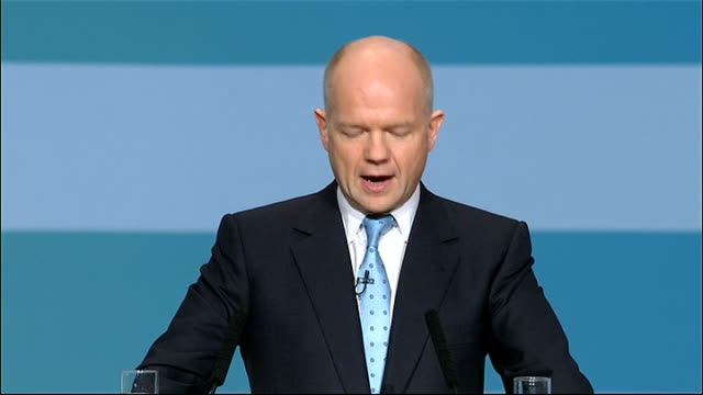conservative party conference: william hague speech; hague speech sot - this is why we have not only placed great importance on our economic and... - navel stock videos & royalty-free footage