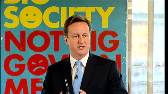 David Cameron 'Building the Big Society' speech ENGLAND London Whitechapel INT David Cameron MP speech SOT This election is about big choices Five...