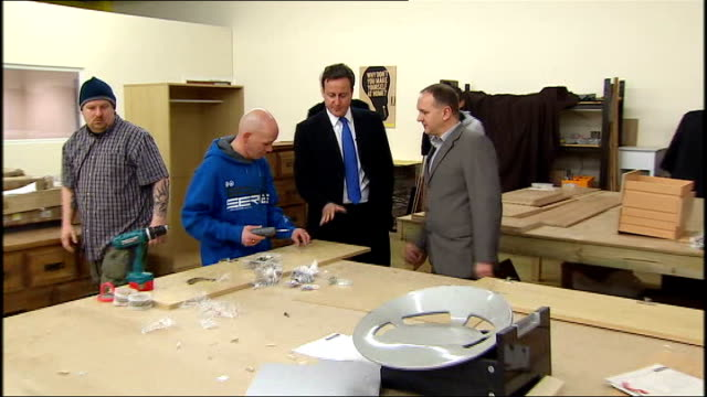 david cameron meets apprentices at merseystride england merseyside liverpool int general views and close views of joinery apprentices working on... - round table discussion stock videos & royalty-free footage