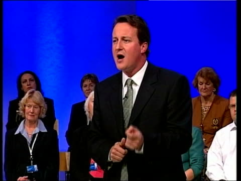 vídeos de stock e filmes b-roll de david cameron wins leadership race; pool lib blackpool: cameron speech at annual conservative party conference sot - i want us to inspire a new... - partido conservador britânico