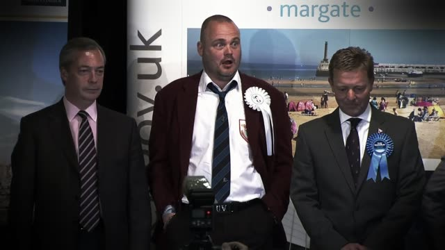 conservative party election expenses investigation: police forces meet with the electoral commission; lib / 8.5.2015 kent: thanet south: int nigel... - al murray stock videos & royalty-free footage