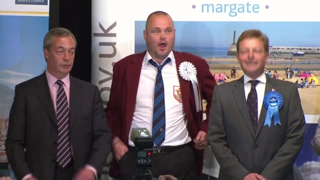 conservative party election expenses investigation: thanet south allegations; lib / 8.5.2015 kent: int returning officer reading out results of vote... - al murray stock videos & royalty-free footage