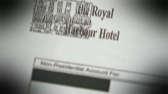vídeos de stock e filmes b-roll de conservative party election spending investigation battlebus 2015 allegations t09021609 / tx close shot of bill for the royal harbour hotel in... - ramsgate