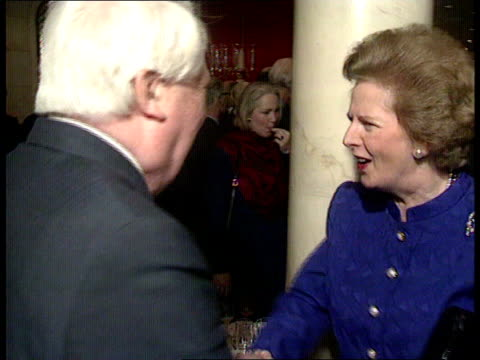 Heath/Thatcher feud FEBRUARY 1990 Savoy Hotel CMS Then PM Margaret Thatcher MP shakes with former PM Edward Heath MP CMS Thatcher and Heath talking TX