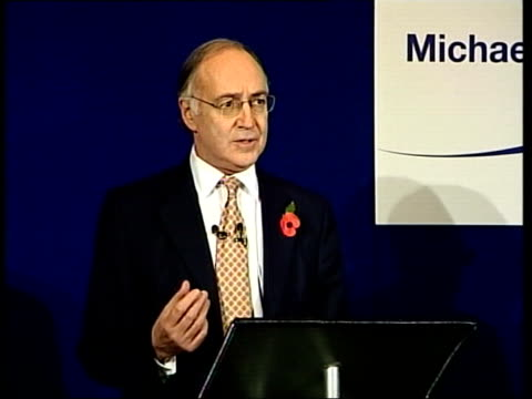 howard announces leadership bid; itn england: london: westminster: int michael howard mp along with wife sandra as entering press conference press... - hands in pockets stock videos & royalty-free footage
