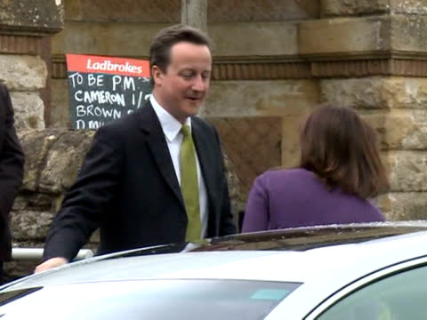 conservative party leader david cameron and his wife samantha have voted at a polling station in the oxfordshire constituency of witney. london,... - oxfordshire stock videos & royalty-free footage