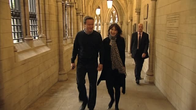 Conservative Party leader David Cameron arrives at Church with wife Samantha Cameron on first weekend after the UK general election resulted in a...