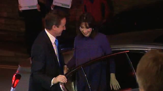 Conservative Party leader David Cameron with wife Samantha arrive their local constituency to await the results of the general election on 6 May UK 7...