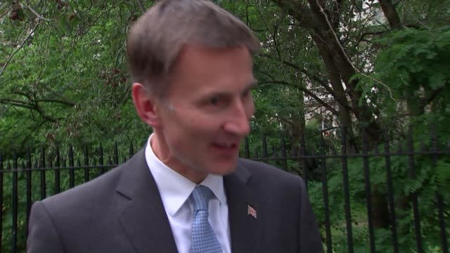 jeremy hunt doorstep interview england london carlton house terrace ext jeremy hunt mp arriving in car and entering 1 carlton gardens raises arm and... - australian politics stock videos & royalty-free footage