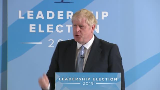 conservative party leadership contest: boris johnson addresses exeter hustings; england: devon: exeter: int boris johnson mp speech to exeter... - exeter england stock videos & royalty-free footage