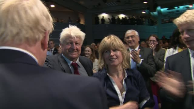 boris johnson announced as new conservative party leader england london qeii conference centre int boris johnson mp from stage kisses his sister... - boris johnson stock videos & royalty-free footage