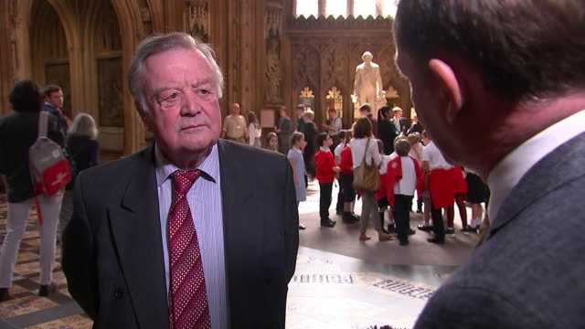 boris johnson misses another leadership hustings england london commons lobby int ken clarke mp interview sot [re conservative leadership contest]... - kenneth clarke stock-videos und b-roll-filmmaterial