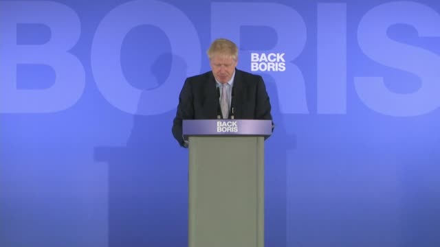 Boris Johnson states Brexit can't be delayed at campaign launch ENGLAND Central London INT Boris Johnson MP speaking to press SOT We cut the murder...