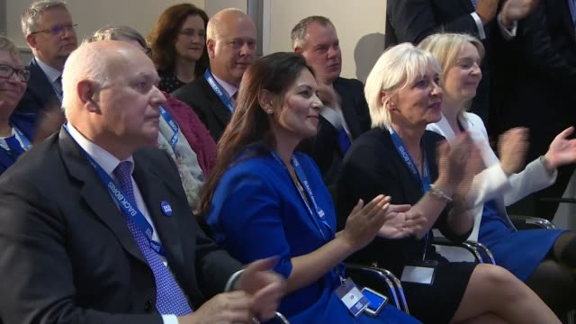 boris johnson states brexit can't be delayed at campaign launch uk london boris johnson launches his conservative party leadership bid england london... - priti patel stock-videos und b-roll-filmmaterial
