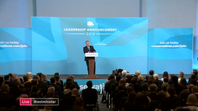 conservative party leadership contest: boris johnson wins battle to become tory leader and prime minister; england: london: queen elizabeth ii... - premierminister stock-videos und b-roll-filmmaterial