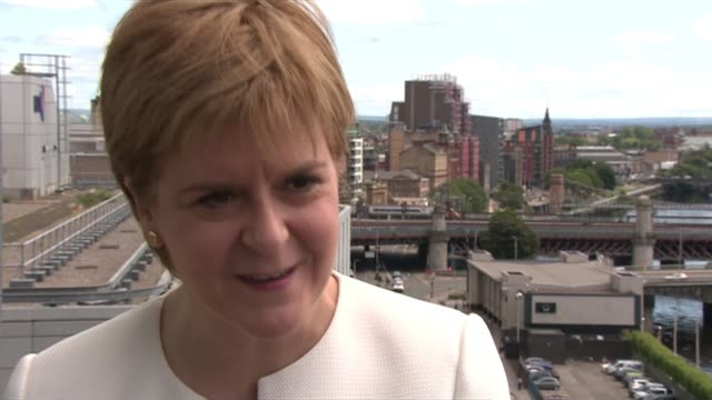 conservative party leadership contest: boris johnson wins battle to become tory leader and prime minister; scotland: glasgow: ext nicola sturgeon msp... - nicola sturgeon stock videos & royalty-free footage
