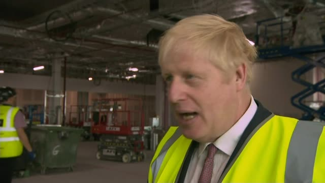 Buildup to ITV debate UK Boris Johnson MP interview at Manchester Airport Jeremy Hunt MP meeting supporters and interview in London ENGLAND Greater...