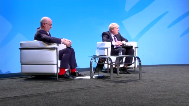 candidates face questions from members in birmingham hustings england birmingham int boris johnson mp question and answer session with iain dale sot... - midlands occidentali video stock e b–roll
