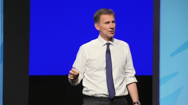 candidates face questions from members in birmingham hustings england birmingham int jeremy hunt mp speech sot part 3 of 3 / jeremy hunt question and... - midlands occidentali video stock e b–roll