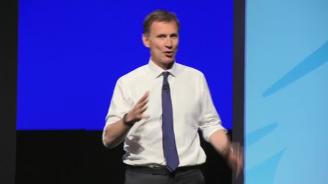 candidates face questions from members in birmingham hustings england birmingham int jeremy hunt mp speech sot part 2 of 3 - midlands occidentali video stock e b–roll
