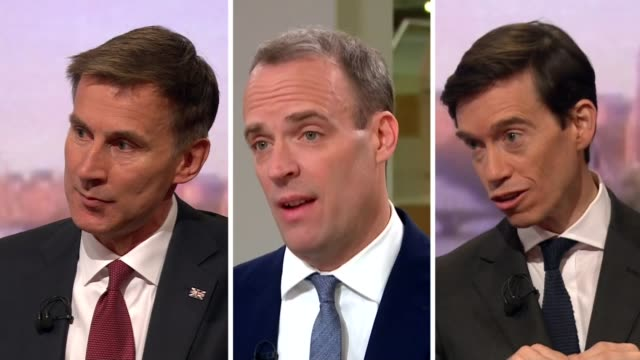candidates prepare for debate without boris johnson bbc conservative party leadership candidates jeremy hunt dominic raab and rory stewart being... - debatte stock-videos und b-roll-filmmaterial