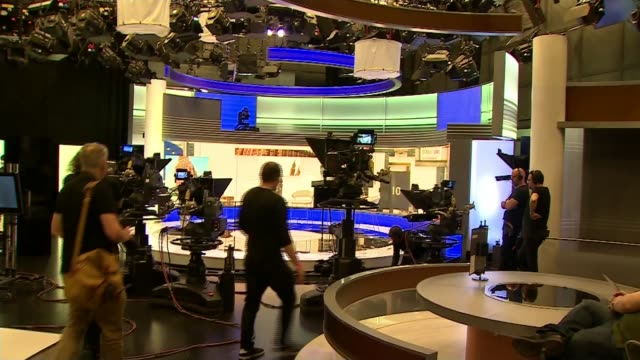 candidates prepare for second ballot england london bbc broadcasting house various shots tv studio with chairs set up ahead of 'our next prime... - itv lunchtime news stock videos and b-roll footage
