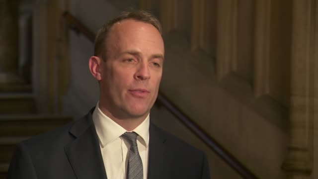 vídeos y material grabado en eventos de stock de conservative party leadership contest: dominic raab interview; england: london: int dominic raab mp interview sot - [re first round of voting in tory... - concurso television